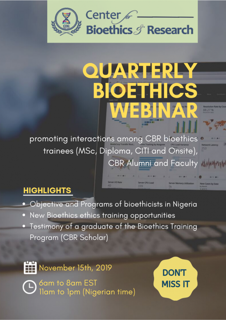 CBR Quarterly Bioethics Webinar announcement
